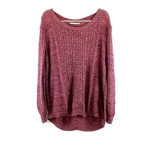 RUBBISH | Mauve Oversized Thin Cable Knit Sweater